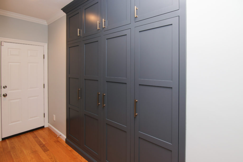 custom cabinetry lockers sprayed with our cabinet painting technique