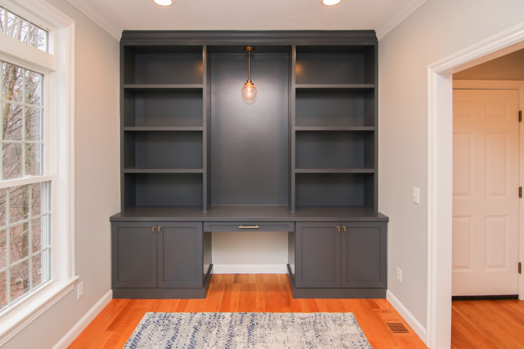 custom cabinetry work space sprayed with our cabinet painting technique